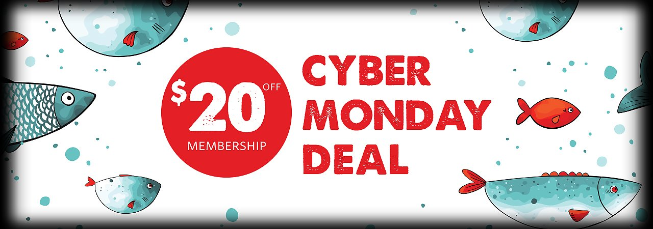 Save 20 dollars on an aquarium membership now through Cyber Monday - banner